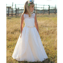 Dresses Flower-Girl First Communion Gown Pageant-Gowns Lace Long-Sleeves Birthday Weddings