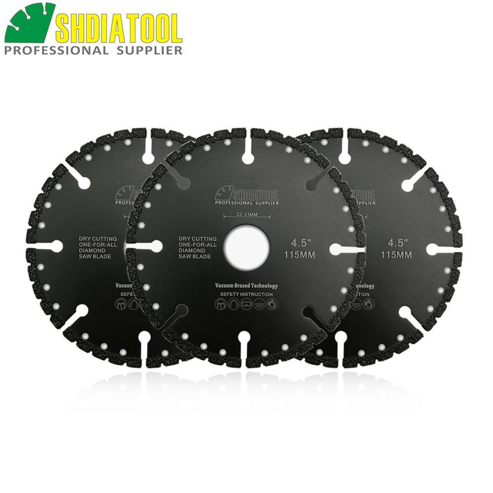 SHDIATOOL 3pcs 115mm Professional Vacuum Brazed Diamond Blade 4.5