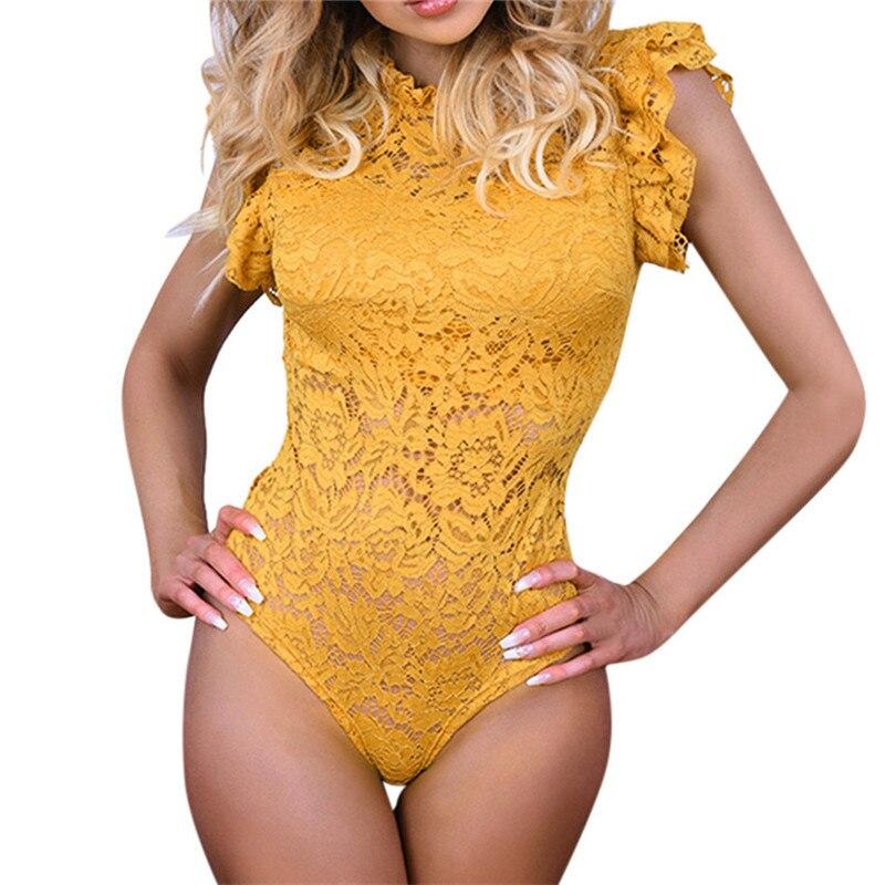 Lace Slim Jumpsuit Women Casual Bodysuit Solid Yellow Ruffles Sleeveless Elegant Romper Ladies Sexy Club Party Female Bodysuits
