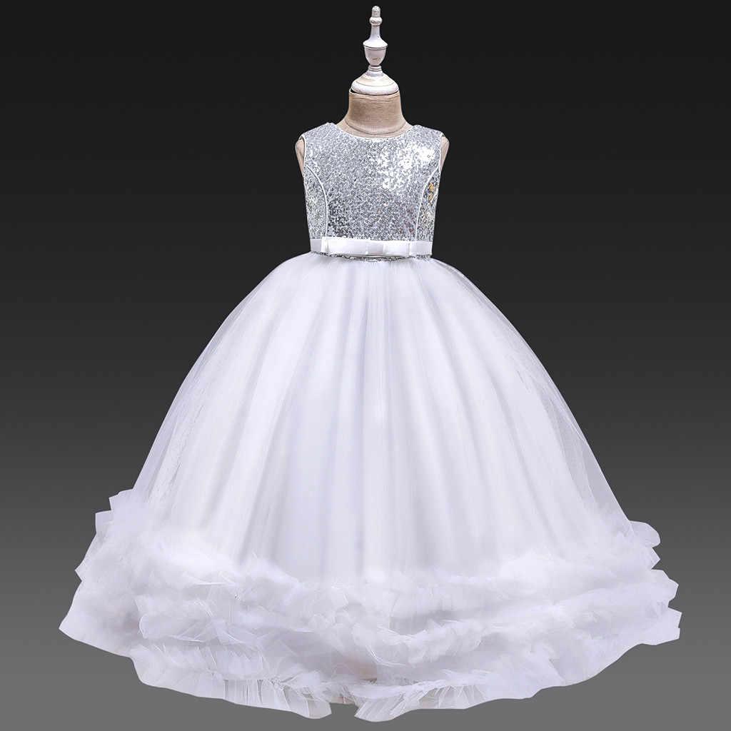 Enfants robes enfants fille adolescent enfants enfants filles solide Patchwork Tulle robe de soirée robes de princesse bébé filles robe décontracté