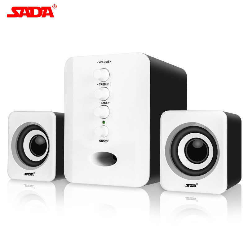Sltcr Pasion Sada 2.1ch Bass Mengerikan Adjustable Subwoofer Speaker Speaker Komputer Caixa De Som untuk PC Desktop Laptop 5 Warna
