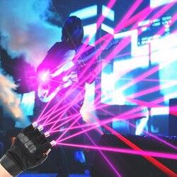 Fioletowo czerwony rękawice z zielonym laserem scena taneczna oświetlenie sceniczne fajny na palec i LED Palm Light dla klubu DJ/Party/bary Disco w Oświetlenie sceniczne od Lampy i oświetlenie na