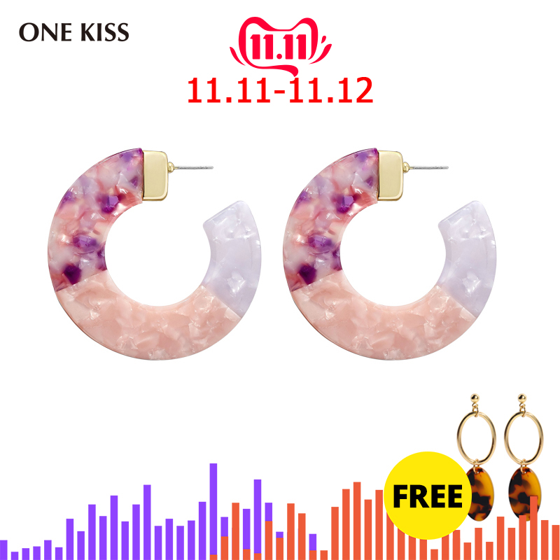 2018 New Beach Multicolor Statement Earrings Acrylic Big Hollow Round Circle Geometry Resin Dangle Drop Earring Women Jewelry