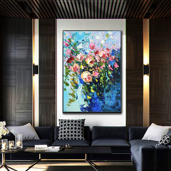 Hand-painted Oil Painting Decorative Entrance Floral Decorative Painting The Living Room Restaurant Study Of large-size Light Lu
