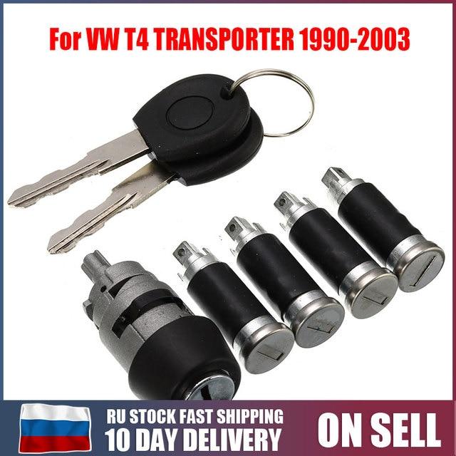 7Pcs/Set 1 Ignition Switch 4 Door Lock Barrel With 2 Keys For VW T4 Caravelle MK 4 IV 1990 2003 Transporter Double Barn Hardware