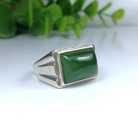 CYNSFJA Real Certified Natural Hetian Jade Jasper 925 Sterling Silver Lucky Men's Amulets Green Jade Ring High Quality Resizable