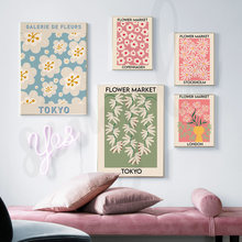 Flower Market Wall Art Canvas Painting London Tokyo Floral Posters Print for Nordic Living Room Home Wall Decor Pictures