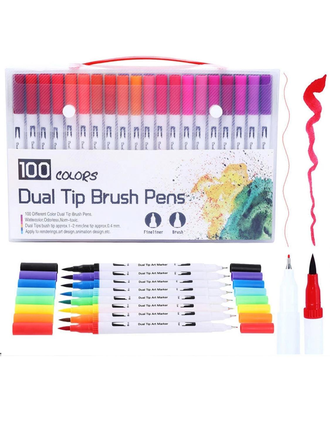 FineLiner Dual Tip Brush Art Markers Pen 12/48/72/100/120 Colors Watercolor Pens For Drawing Painting Calligraphy Art Supplies