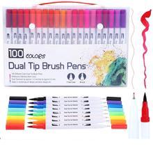 FineLiner Dual Tip Brush Art Markers Pen 12/48/72/100/120 Colors Watercolor Pens For