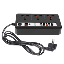 Smart 24 Hours Timer ON/OFF Power Strip Socket 3AC Universal Outlets Socket 5USB Charger Ports Extension Socket 2M Power Cord [sa] new phcenix contact power trio ps 3ac 24dc 20 spot