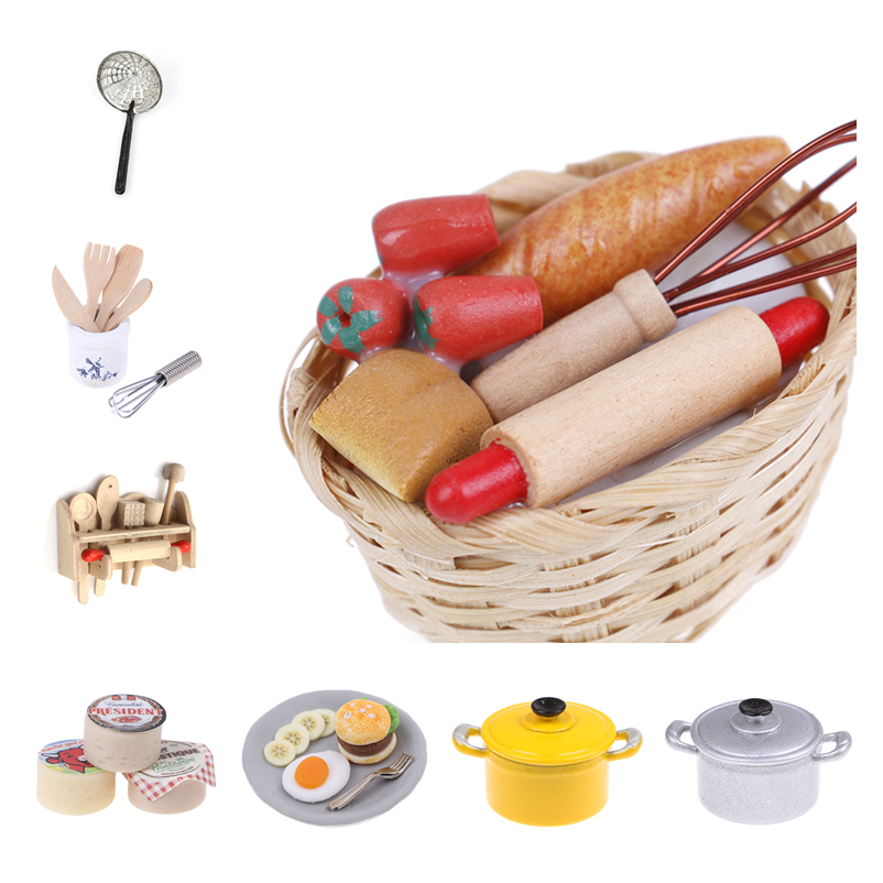 1set Or 1pc Dollhouse Miniature Accessories Shovel Soup Spoon Storage Holder Kitchen Cooking Tool Utensils For Decoration Toy
