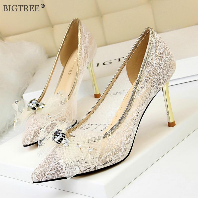 Ladies Women Bow-Knot Mesh Gauze Pumps High Heel Stiletto Court Shoes Club Party