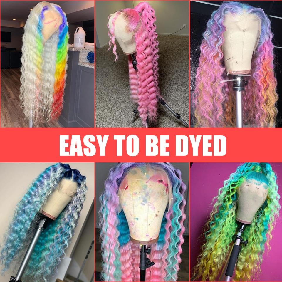 613 Deep Wave Lace Frontal Wigs   Glueless Deep Part 28 Inch Long Wigs 13*1 Light Blonde 150% 6