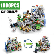 New My World Mountain Mechanism Cave Fit Legoings Minecrafted City Aminal Alex Model Building Blocks Figures Brick Toys Kid Gift diy building blocks bricks my world compatible legoed minecrafted set steve alex reuben figures city toy for children
