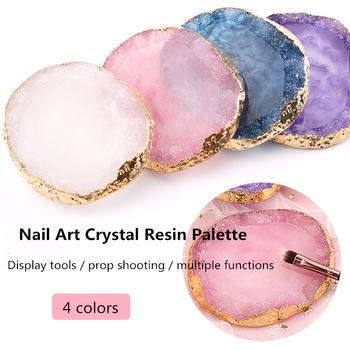 4 kolorowe paznokcie Art agat paleta Phnom Penh żywica kryształ agat paleta farb uchwyty do pokazywania paznokci tanie i dobre opinie CN (pochodzenie) PP-D215 1 PC Z tworzywa sztucznego 10*9*1CM manicure palette blue purple white pink Resin Nail Tools