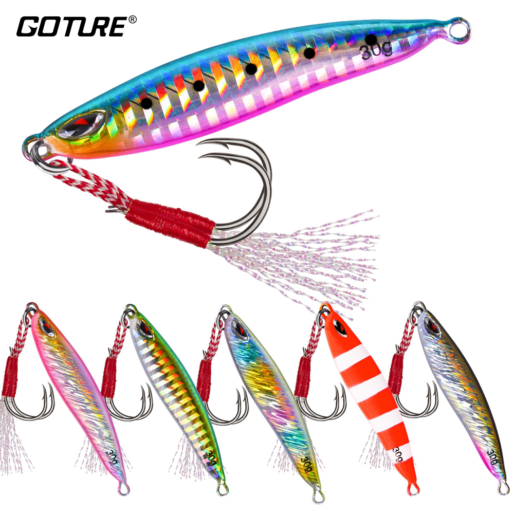 Goture 1PC Metal Cast Jig Spoon Fishing Lure 20g 30g Casting Jigging Lead Fish Hard Artificial Bait for Sea Bass