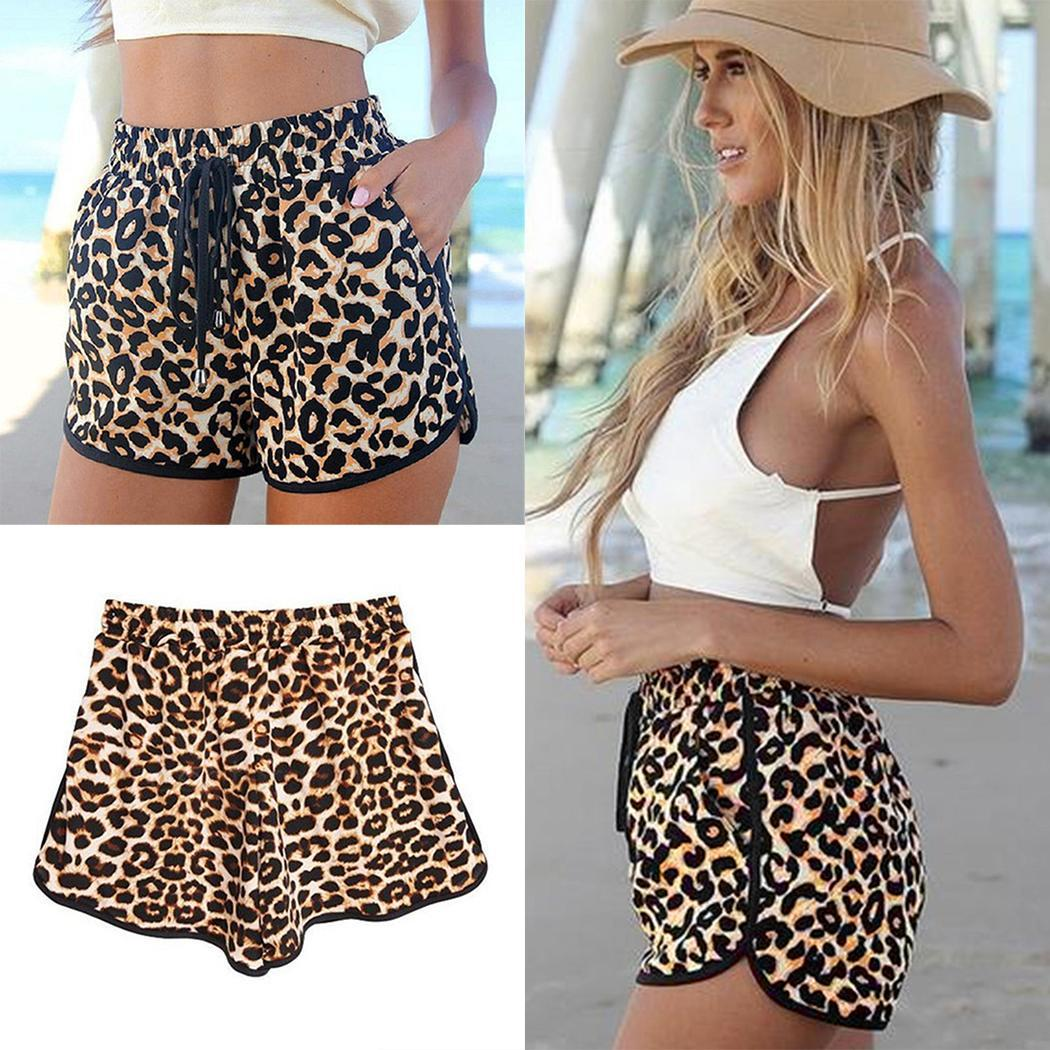 Women Casual Loose Leopard Drawstring Waist Casual, Shorts Summer Mid Beach Shorts Above Knee V-Neck
