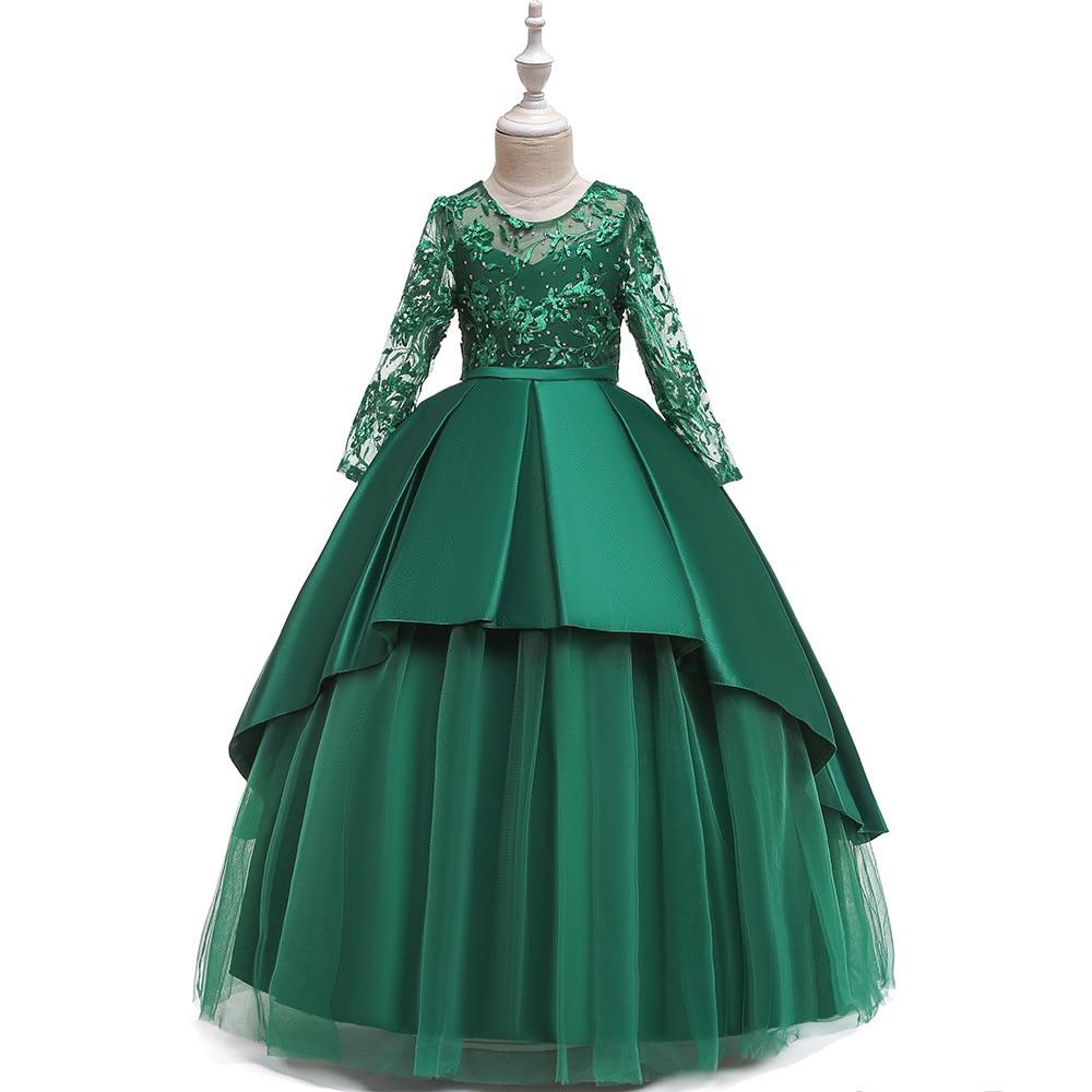 Amazon 2019 CHILDREN'S Dress Princess Dress Girls Puffy Gauze Long Sleeve Piano Costume Catwalks Late Formal Dress