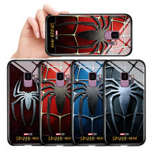Untuk Samsung Galaxy J3 J5 J7 PRO 2017 Marvel Spiderman-Laba-laba Logo Case Tahan Guncangan Lembut Kaca Tempered Kembali cover Casing(China)