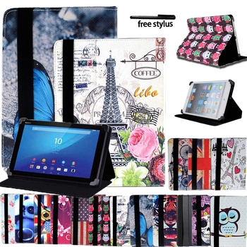 Universal Tablet Case for 8/10.1 Sony Xperia Z3/Z4 Ultra-thin Leather Anti-shock Tablet Leather Stand Folding Cover + Stylus image