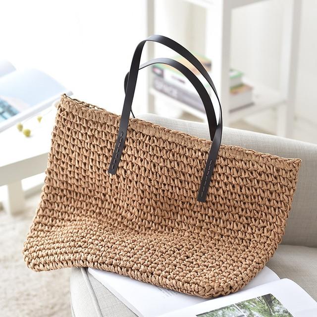 Women Handbag Summer Beach Bag Rattan Woven Handmade Knitted Straw Large Capacity Totes Leather Women Shoulder Bag Bohemia New 2