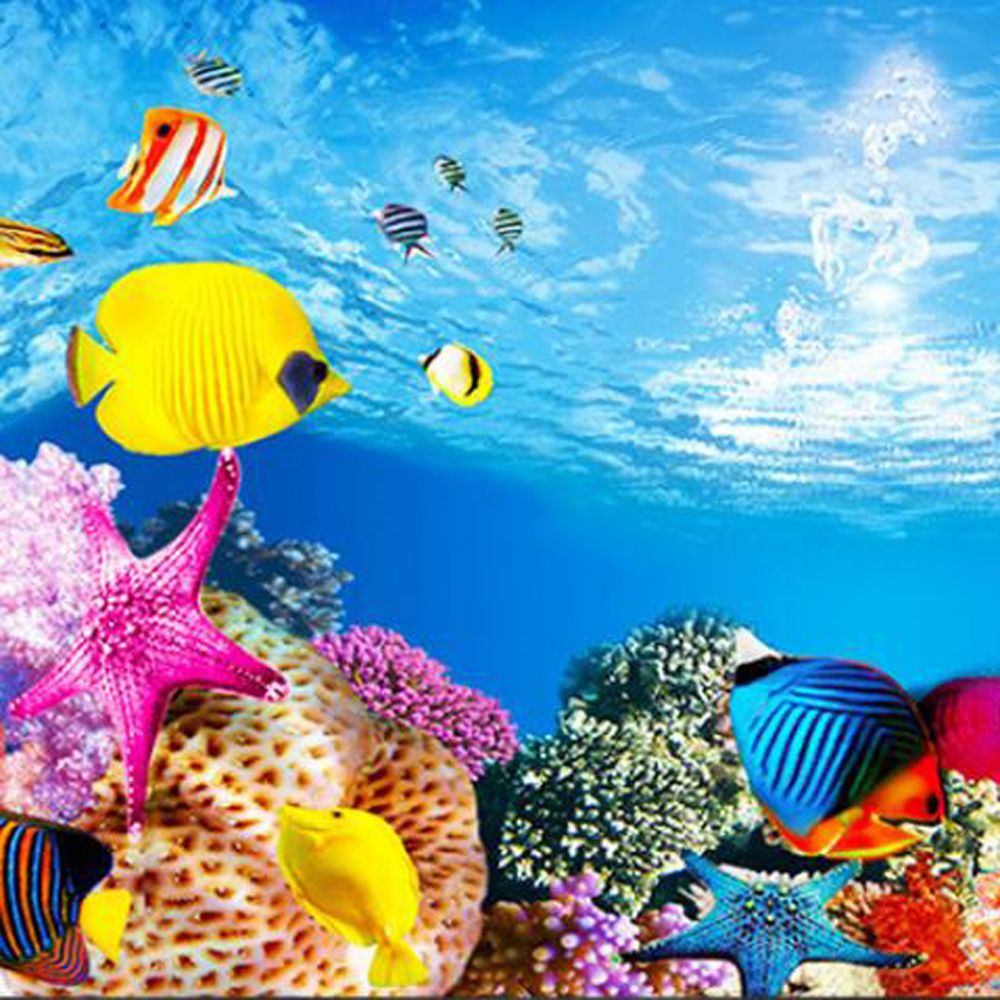 Aquarium Landscape Sticker Poster Fish Tank 3D Background Painting Sticker PVC Double-sided Ocean Sea Plants Backdrop Decor(China)