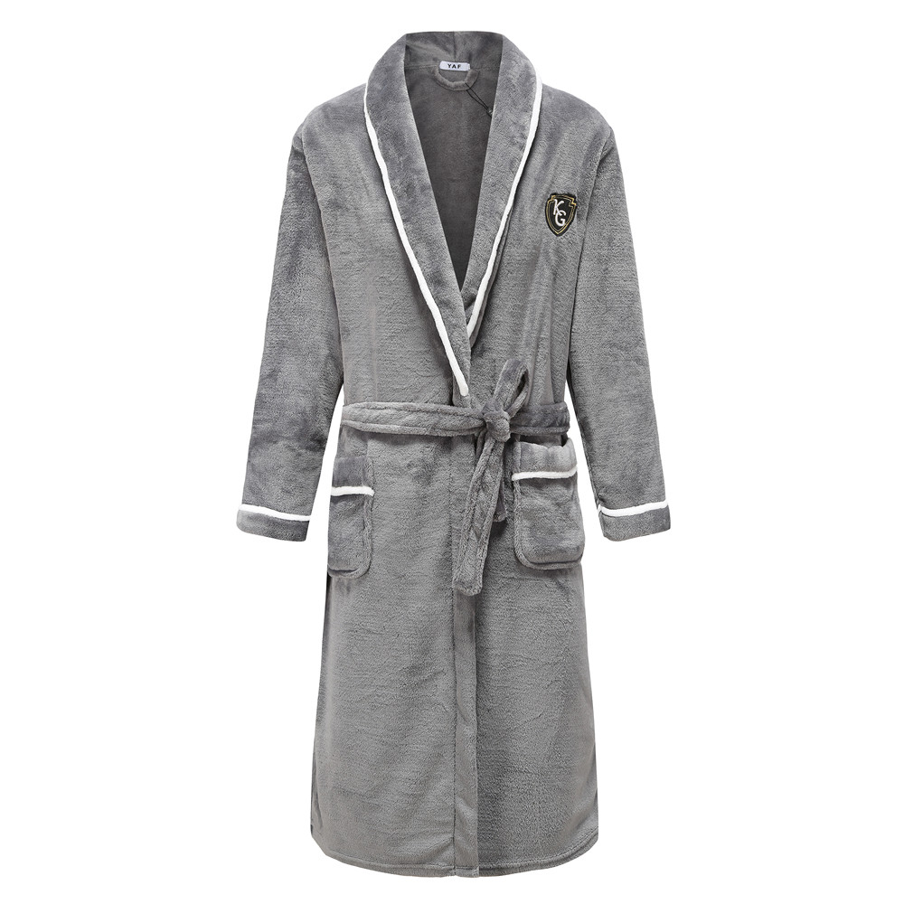 Gray Men Warm Thick Robe Winter Kimono Gown Lovers Male Flannel Coral Sleepwear Nightgown Home Clothing Belt Bathrobe Gown