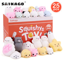 Satkago 25PCS Cute Kawaii Soft Squeeze Toys Cartoon Animal Toy for Kids Adults Relieves Stress Anxiety Home Decoration