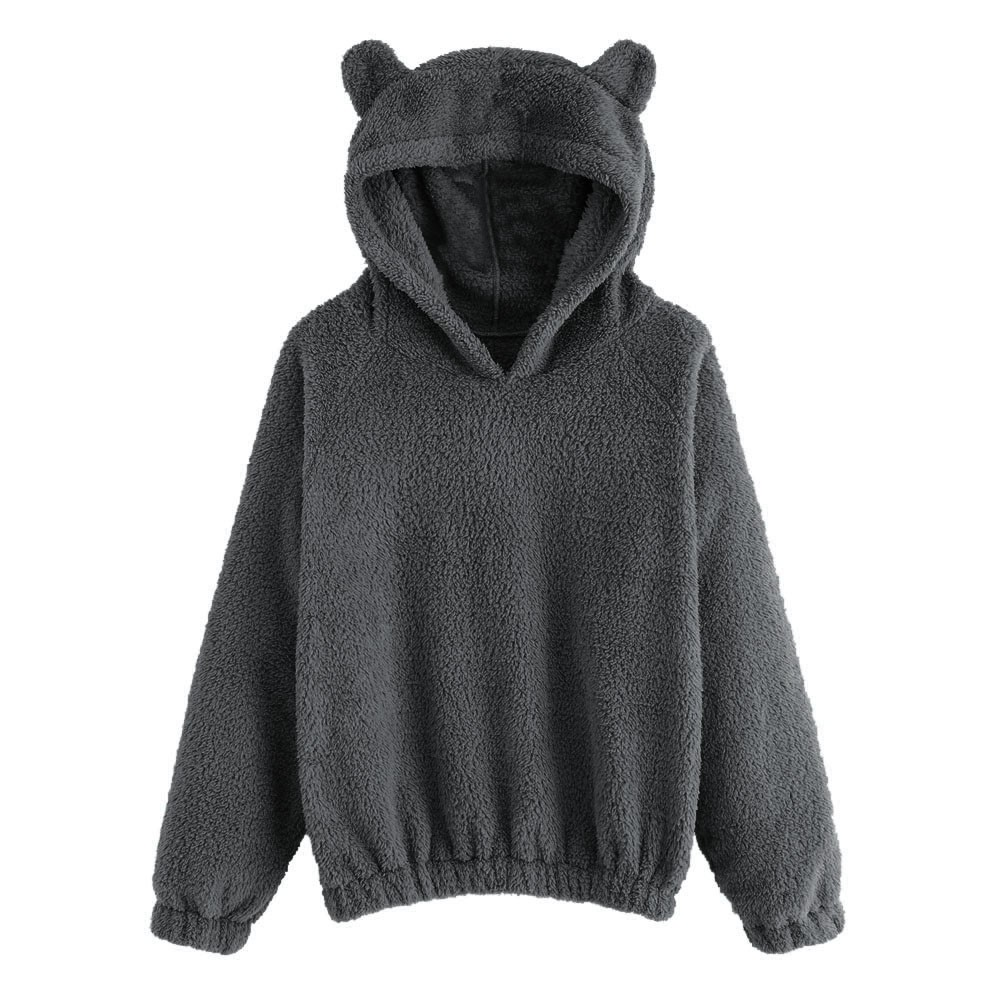 Women's Long Sleeve Fleece Sweatshirt Warm Bear Shape Fuzzy Hoodie Pullover Warm Hoodies For Women Cosas Kawaii