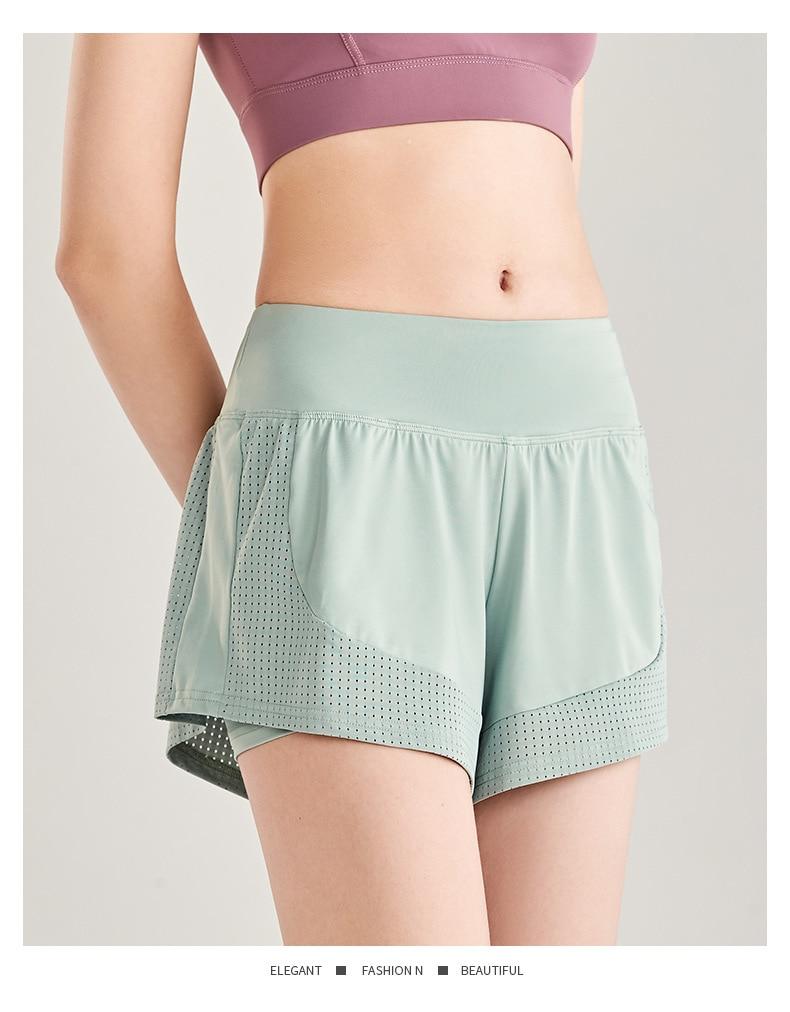 Shorts Women Workout Shorts High Waisted Running Shorts Double Layer Quick-drying Athletic Yoga Shorts Fitness Shorts (6)