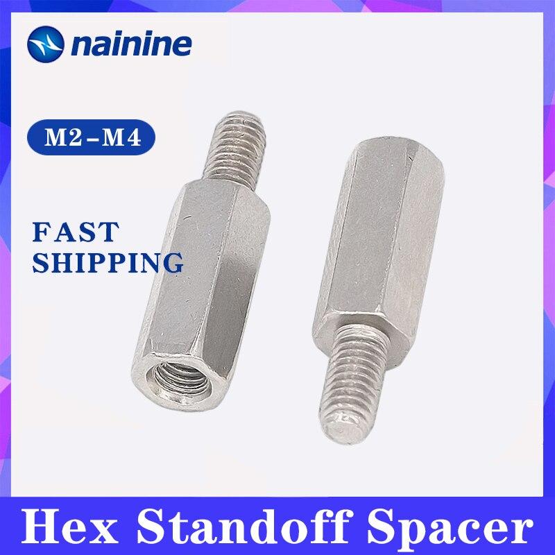 [M2/M2, 5 * L + 4 M3/M4 * L + 6] никелированная сталь, шестигранная стойка, штекер-гнездо, прокладка B061