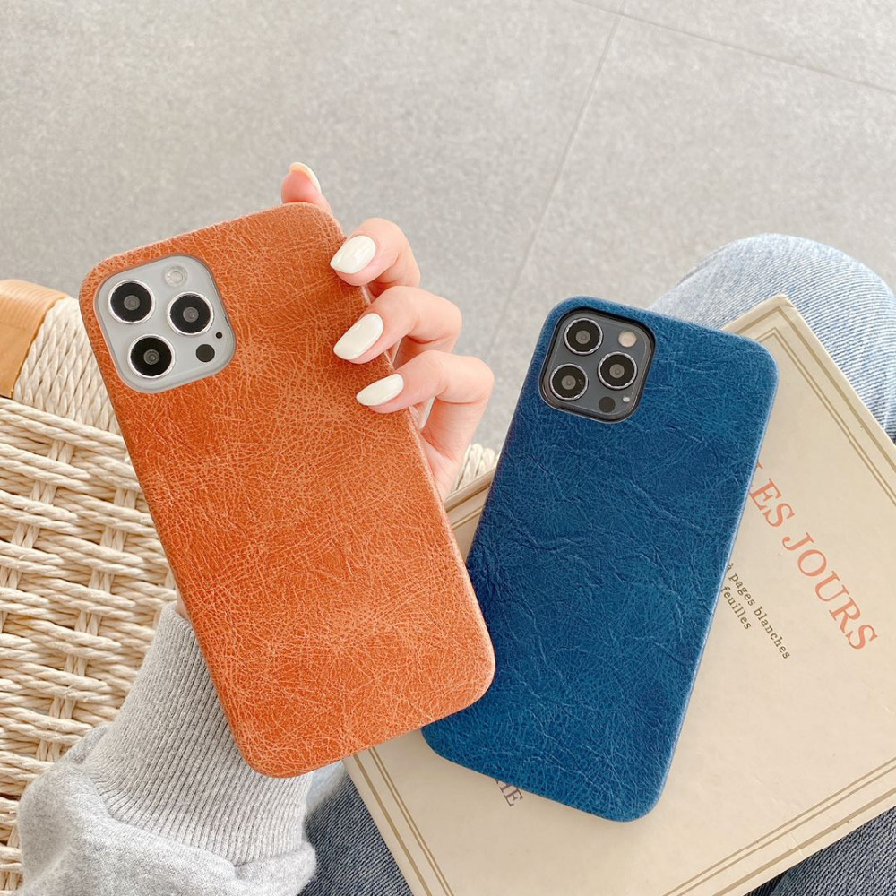 Luxury Leather Plain Candy Color Matte Waterproof Phone Case For iPhone 12