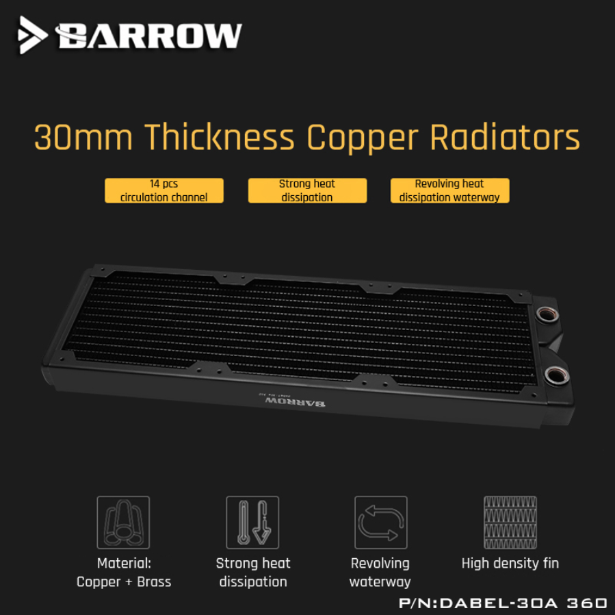 Barrow Dabel-30a 360 Copper Radiator 30mm Thickness 14pcs Circulation Channel Suitable For 120mm Fans
