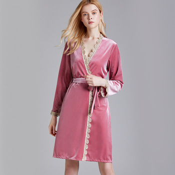 Wasteheart  Winter Pink Women Fashion Sexy Robes Sleepwear Nightwear Knitting Long Bathrobe Pajama Pleuche Sashes