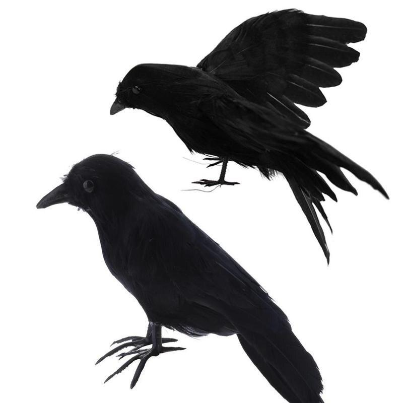 Garten Beflockt Raven Hartplastik Schwarze Krähe Jagd Lockvogel Halloween