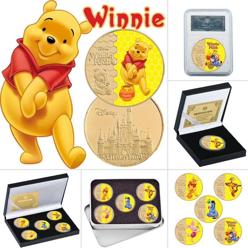 Классические американские Мультяшные позолоченные монеты, коллекционные монеты с держателем для монет, американская аниме монета с медвед...