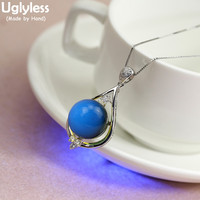 Uglyless Gradient Blue Amber Pendants for Women Natural Gemstones Amber Necklaces NO Chain Real 925 Sterling Silver Jewelry P944