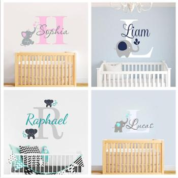 Custom Personalized Name Decal Wall Decals Baby Bedroom Elephant Vinyl Deorl Kid Boys Girls Room Name Nursery Decoration XY001