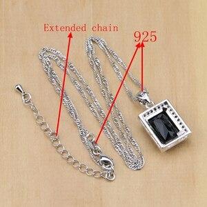 Image 5 - Square 925 Silver Jewelry Black Zircon White CZ Jewelry Sets For Women Earrings/Pendant/Necklace/Rings/Bracelet