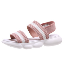 AIBA fashion stretch fabric women sport casual sandals  flat beach shoes gladiator girls summer women's chunky
