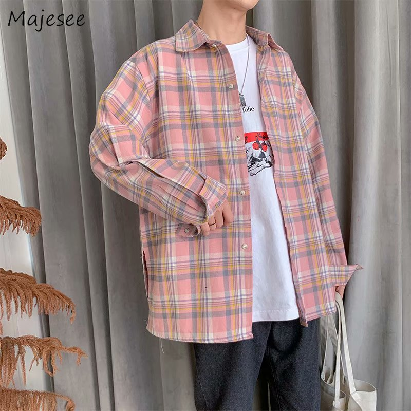 Men Shirt Long Sleeve Plus Size Harajuku Clothes Korean Style BF Loose Mens Shirts Casual Hot Sale Street Wear All Match Plaid