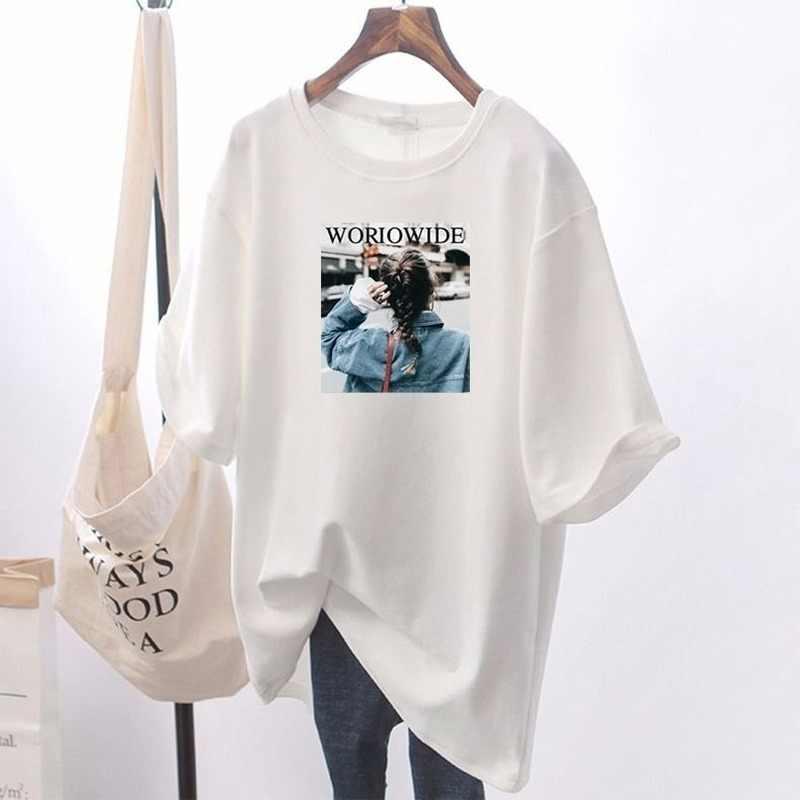 100% algodão mais tamanho t camisa feminina solta casual mickey impressão camisa de manga curta feminino 2020 verão novo estudante coreano t topos