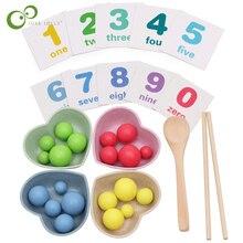 Clip-Beans Chopsticks Educational-Toys Math-Enlightenment Wood-Color Children's Exercise
