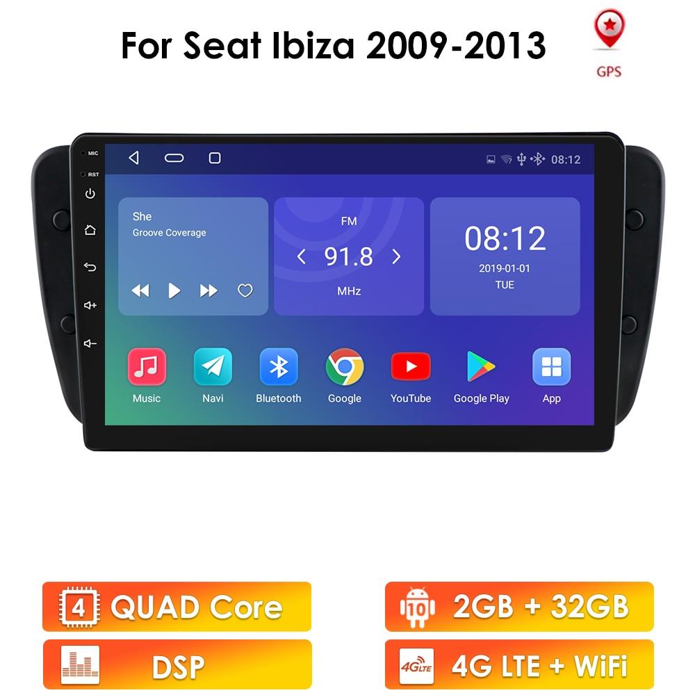 Автомагнитола 2 DIN, Android, для Seat Ibiza 6j 2009 2010 2012 2013, GPS-навигация, радио, аудио, стерео, автомобильный мультимедийный плеер
