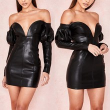 2019 Fashion Women Black PU Leather Bodycon Dress Sexy V Neck Long Sleeve Strapless Mini Dress New Slim Slash Neck Club PU Dress plain slash neck flare sleeve bodycon dress