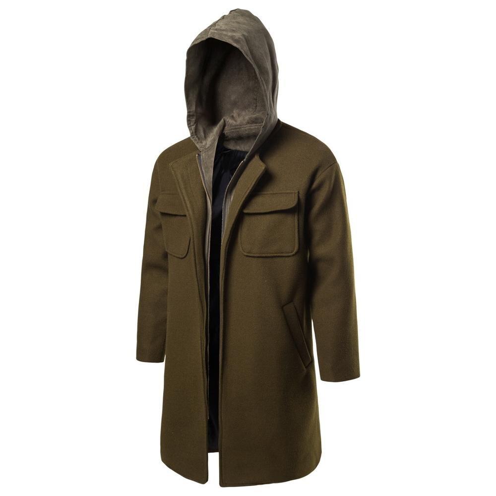 Men Winter Wool Coat  Men'sd Solid Color Wool Trench Coat Overcoat