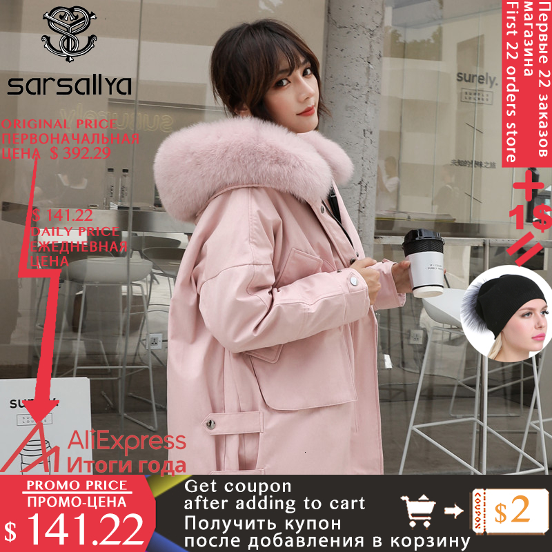 Winter Jacket Parka Natural Fox Women Fur Parka Female 2019 Real Fur Coat Parka For Ladies Casual Solid Warm Thick Clothes New