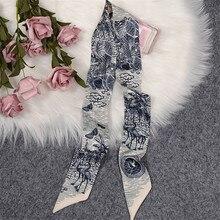 Дизайнерский пляжный галстук-бабочка, летняя модная Роскошная Брендовая женская маленькая шелковая повязка-тюрбан с принтом, Длинная атла...