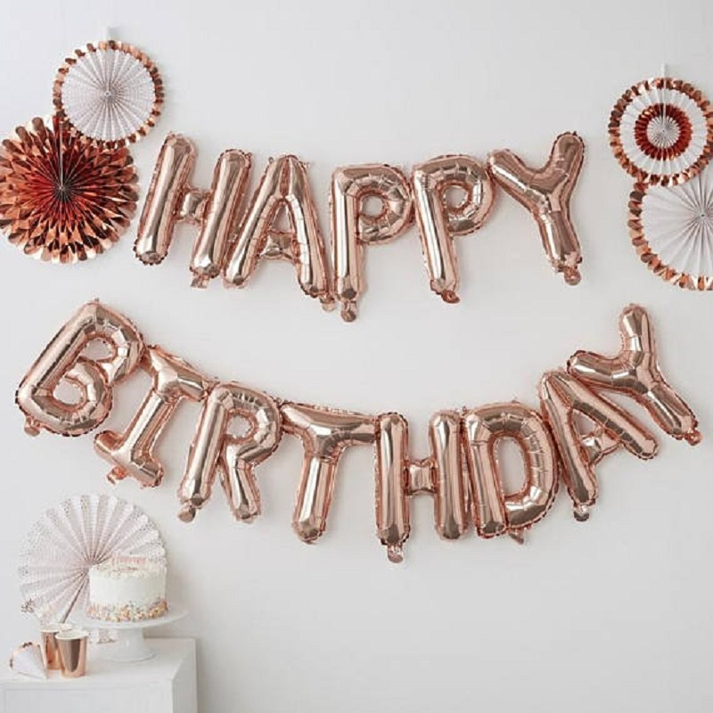 13pcs Happy Birthday Letter Balloons 16inch Foil Ballons Birthday Party Decorations Rose Gold Silver Black Globos Gifts Supplies-in Ballons & Accessories from Home & Garden