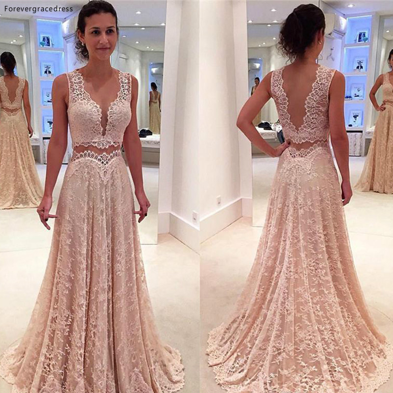 V Neck Full Lace Backless Prom Dress With Deep V Neck Sleeveless Long Formal Party Gown Custom Made Plus Size